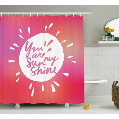 Blury Handwritten Quotes Decor Shower Curtain Size: 69 H x 70 W
