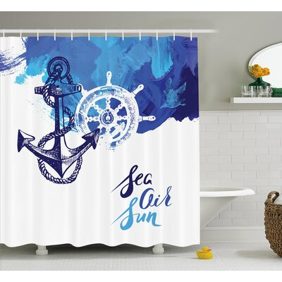 Rudder Cruise Nautical Decor Shower Curtain Size: 69 H x 70 W