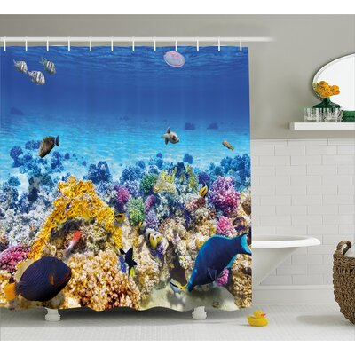 Underwater Sea World Decor Shower Curtain Size: 69 H x 75 W