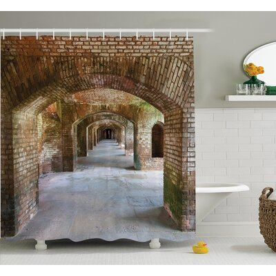 Brick Arches Decor Shower Curtain Size: 69 H x 70 W