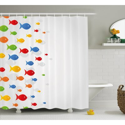 Fish Decor Shower Curtain Size: 69 H x 70 W