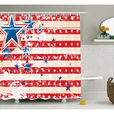 Star and Horizontal Stripes Decor Shower Curtain Size: 69 H x 84 W