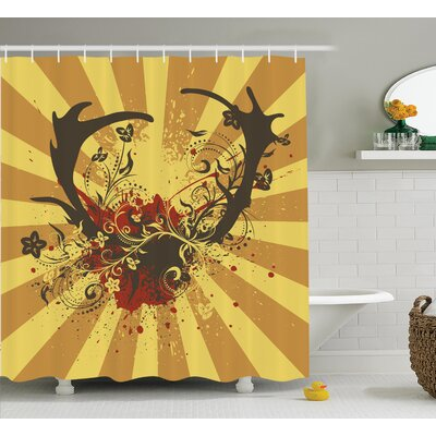 Stags Antler Shower Curtain Size: 69 H x 75 W