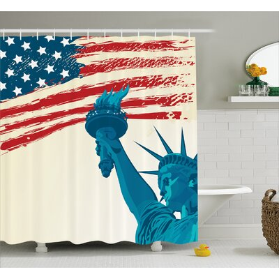 Freedom Symbol Decor Shower Curtain Size: 69 H x 75 W