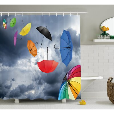 Dark Cumulus Decor Shower Curtain Size: 69 H x 84 W