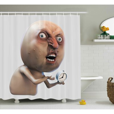 Complaining Oversleep Face Decor Shower Curtain Size: 69 H x 75 W