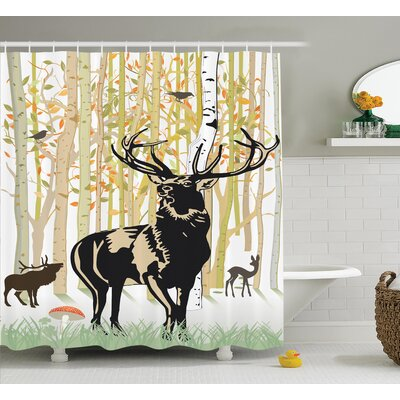 Autumn Forest Shower Curtain Size: 69 H x 84 W