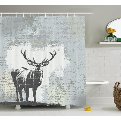 Standing Stag Shower Curtain Size: 69