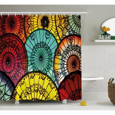 Floral Umbrella Decor Shower Curtain Size: 69 H x 75 W