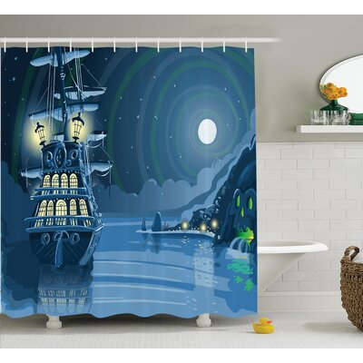 Island Nautical Decor Shower Curtain Size: 69 H x 70 W