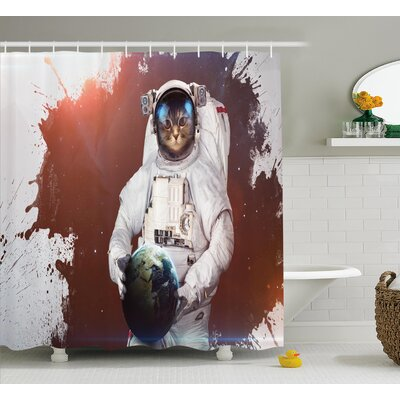 Kitty Cosmonaut  Decor Shower Curtain Size: 69 H x 70 W