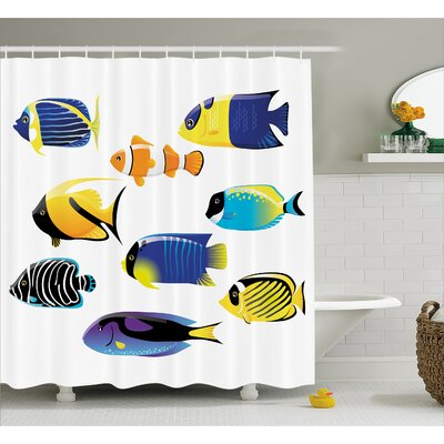 Atlantic Fish Decor Shower Curtain Size: 69 H x 70 W