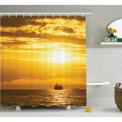 Cargo Ship Nautical Decor Shower Curtain Size: 69 H x 84 W