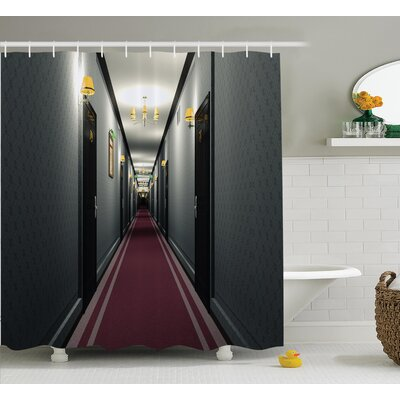 Hotel Corridor Decor Shower Curtain Size: 69 H x 84 W