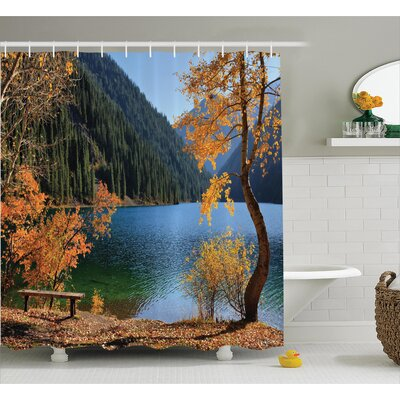 Clovis Autumn Lake and Mountain Decor Shower Curtain Size: 69 H x 70 W