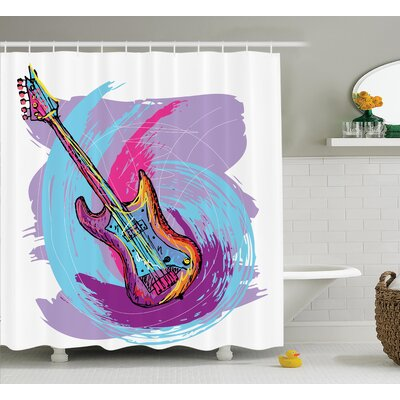 Modern Electric Guitar Decor Shower Curtain Size: 69 H x 75 W