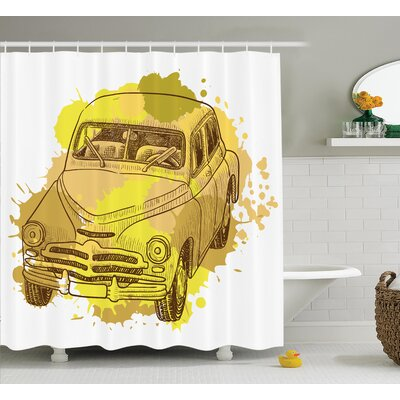 Retro Car Decor Shower Curtain Size: 69 H x 70 W