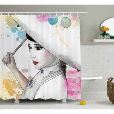 Eastern Woman with Umbrella Decor Shower Curtain Size: 69 H x 75 W