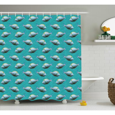 Unicornfish Decor Shower Curtain Size: 69 H x 70 W