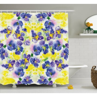 Menyauthe Butterfly Flower House Decor Shower Curtain Size: 69 H x 75 W