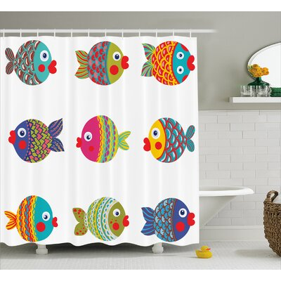 Ornate Fish Decor Shower Curtain Size: 69 H x 75 W