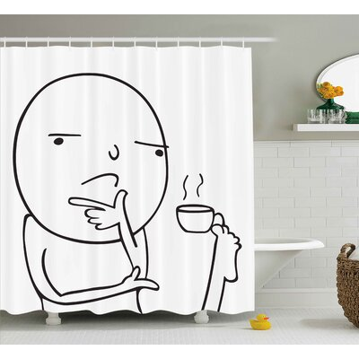 Meme Drinking Coffee  Decor Shower Curtain Size: 69 H x 70 W