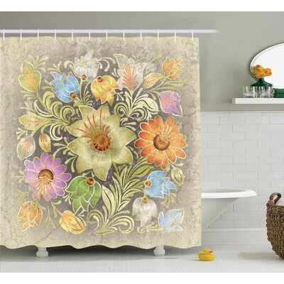 Aged Floral Bouquet Decor Shower Curtain Size: 69 H x 75 W