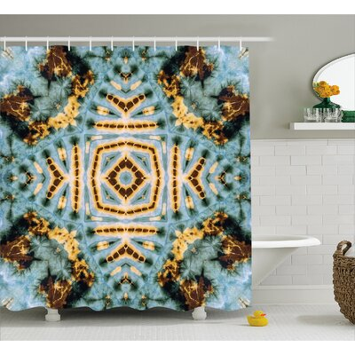Hippie Motif Decor Shower Curtain Size: 69 H x 75 W