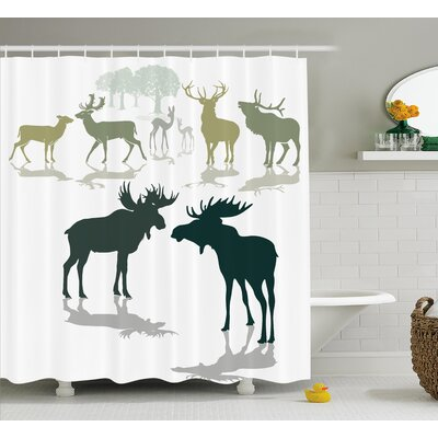 Elks Forest Shower Curtain Size: 69 H x 84 W