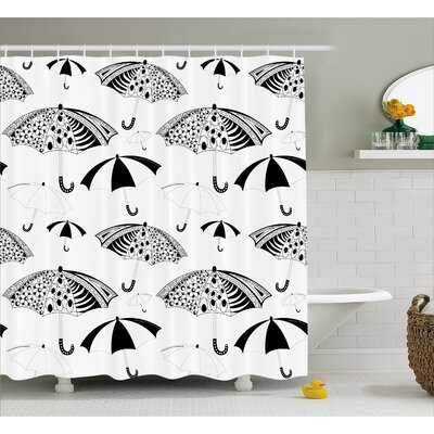 Ornate Umbrella Decor Shower Curtain Size: 69 H x 70 W