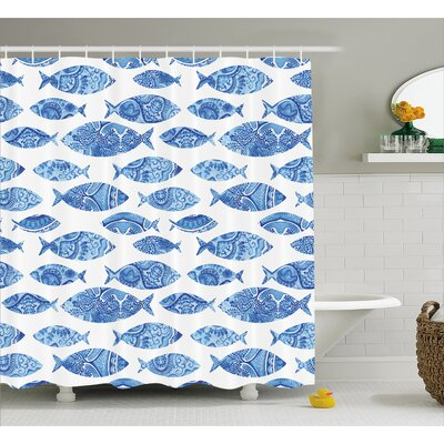 Kentshire Mosaic Fish Decor Shower Curtain Size: 69 H x 75 W