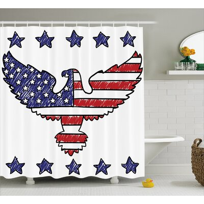 Sketch Flag Eagle Decor Shower Curtain Size: 69 H x 75 W