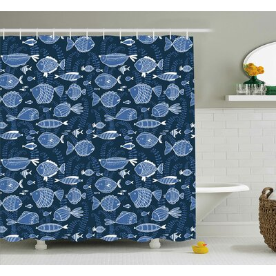 Kentshire Moss Leaves Shower Curtain Size: 69 H x 70 W