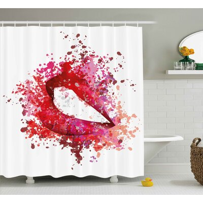 Sexy Lips Modern Decor Shower Curtain Size: 69 H x 75 W