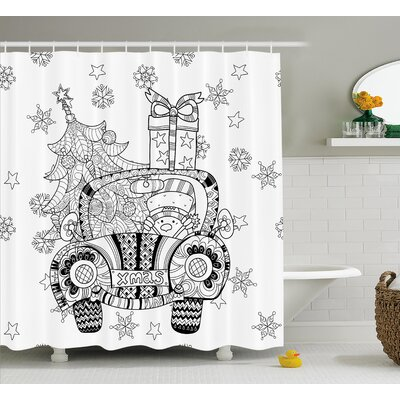 Christmas Car Snowflakes Shower Curtain Size: 69 H x 84 W