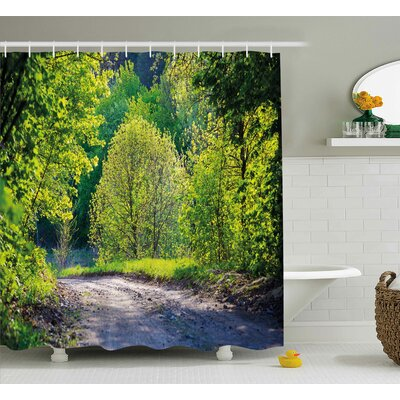 Trees along The Road Shower Curtain Size: 69