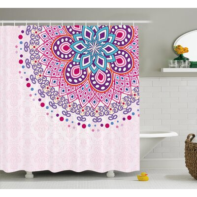Indian Ornamental Shower Curtain Size: 69 H x 70 W