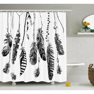 Feather Drawing Decor Shower Curtain Size: 69 H x 70 W