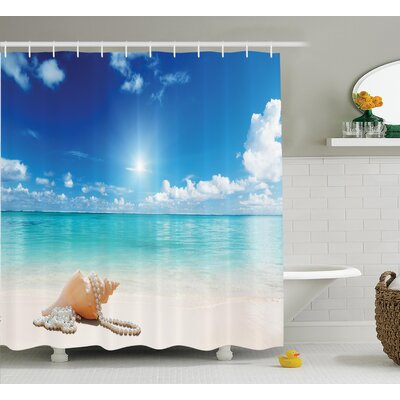 Seashells and Pearls on Sandy Beach Shower Curtain Size: 69 H x 84 W