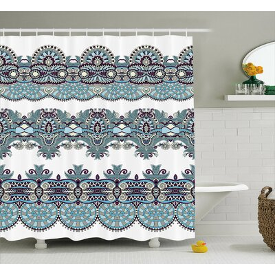 Floral Bordered  Decor Shower Curtain Size: 69 H x 75 W