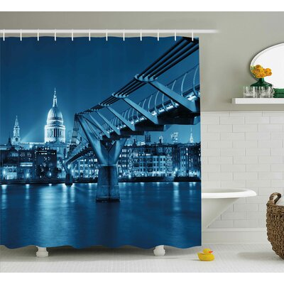 Coletta Bridge and Cathedral Shower Curtain Size: 69 H x 70 W