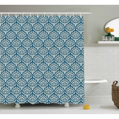 Damask Shower Curtain Size: 69 H x 75 W