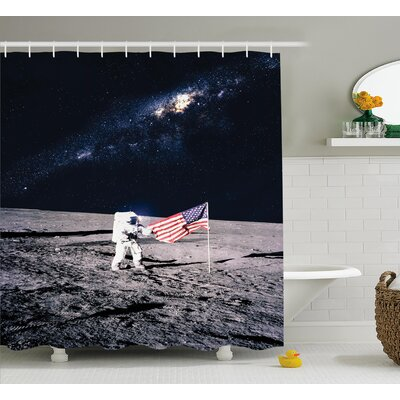 Moon Astronaut Decor Shower Curtain Size: 69 H x 70 W