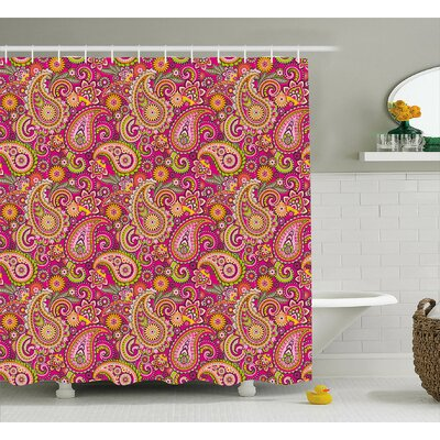 Flowers Dots Leaves Decor Shower Curtain Size: 69 H x 75 W