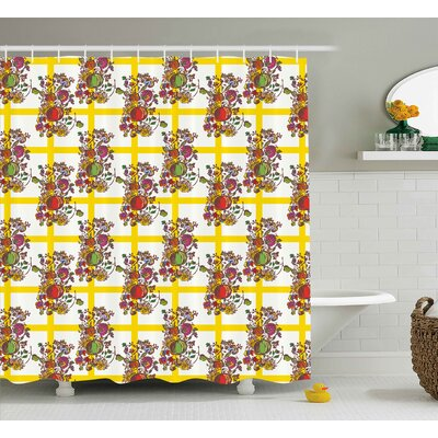 Fruits Decor Shower Curtain Size: 69 H x 70 W
