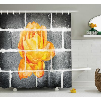 Flower Decor Shower Curtain Size: 69 H x 75 W