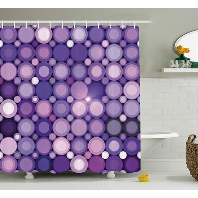 Geometrical Circles Modern Decor Shower Curtain Size: 69 H x 75 W