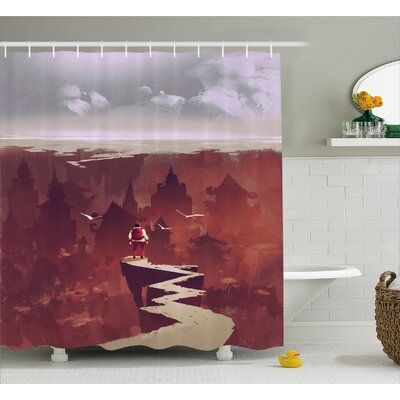 Man On Edge Decor Shower Curtain Size: 69 H x 70 W