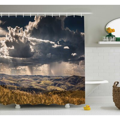 Fall Tree Puffy Clouds Decor Shower Curtain Size: 69 H x 70 W