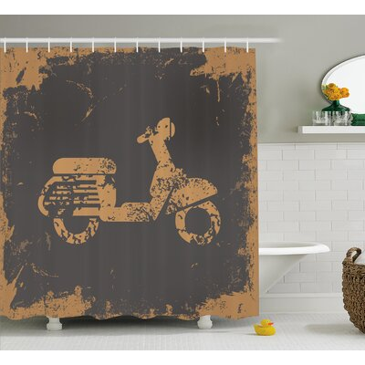 Retro Motorcycle Shower Curtain Size: 69 H x 70 W